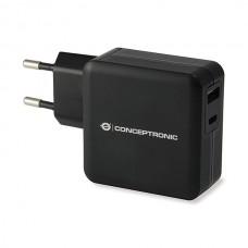 CONCEPTRONIC CARREGADOR PAREDE 30W 1x USB-C + 1x USB CHARGER WT #PROMO ACESS#