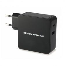 CONCEPTRONIC CARREGADOR PAREDE 60W 1x USB-C + 1x USB CHARGER BL