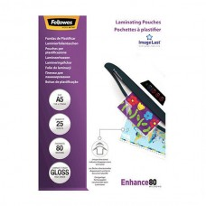 FELLOWES BOLSAS PLASTIFICAR 80 MIC. BRILHO A5 PACK 25
