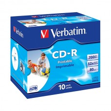 VERBATIM CD-R 52X 700MB 80MIN CAIXA NORMAL (JEWEL) PRINT PACK 10 #PROMO#