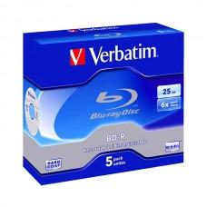 VERBATIM DVD BD-R SINGLE LAYER 25GB PACK 5 UNIDS WHITE/BLUE #PROMO#
