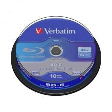 VERBATIM BLU-RAY BD-R 6X 25GB SPINDLE BOBINE (CAKE) PACK 10