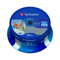 VERBATIM BLU-RAY BD-R 6X 25GB PRINTABLE BOBINE (CAKE) PACK 25
